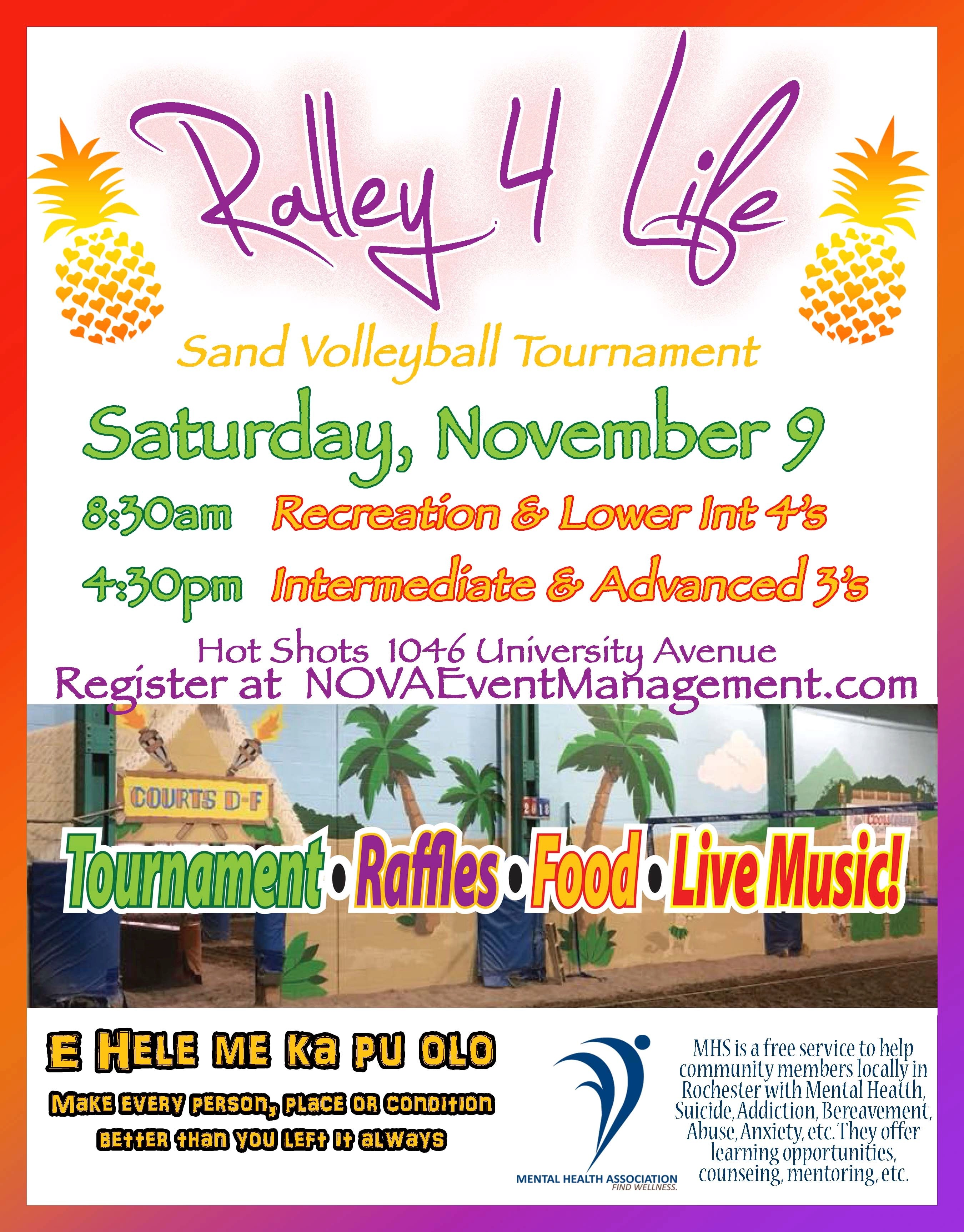 Ralley 4 Life Volleyball Tournament 11 9 19 Sat